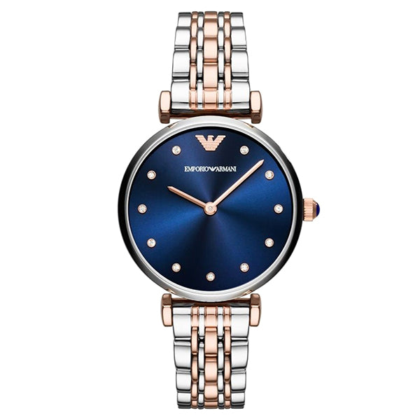 Blue Sunray Dial Two Tone Stainless Steel Ladies Watch