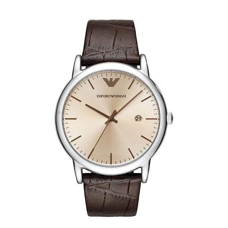 Armani Luigi Silver Sunray Dial With An Amber Crystal Men's Watch