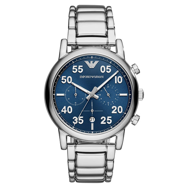 Blue Sunray Chronograph Dial With Stainless Steel Men's Watch