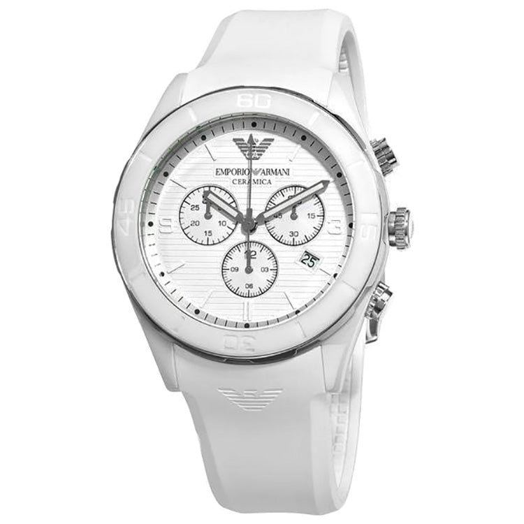 Ceramica Chronograph White Dial White Silicone Men's Watch