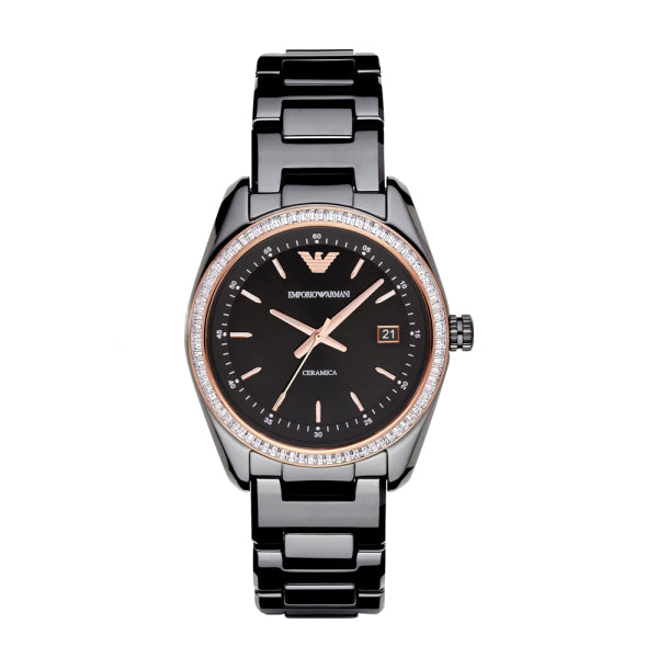 Ceramica Black Dial Black Ceramic Quartz Watch