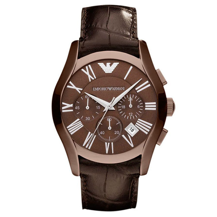 Classic Chronograph Brown Dial Brown Leather Strap Men's Watch