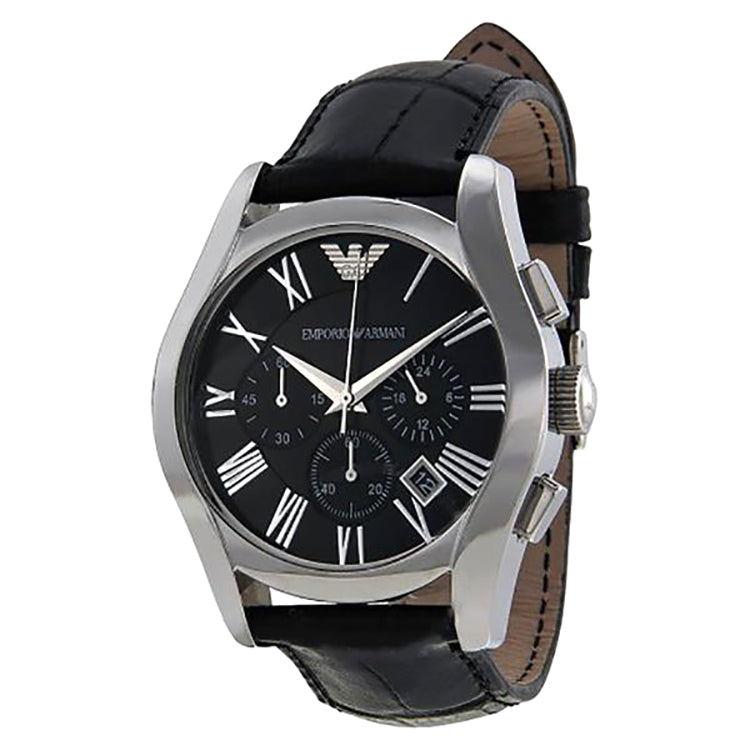 Classic Black Chronograph Black Dial Black Leather Men's Watch