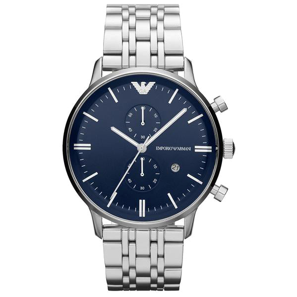 Emporio Classic Chronograph Blue Dial Stainless Steel Men's Watch