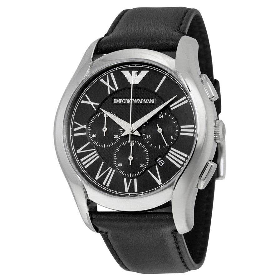 Chronograph Black Dial Steel Case Black Leather Strap Men's Watch