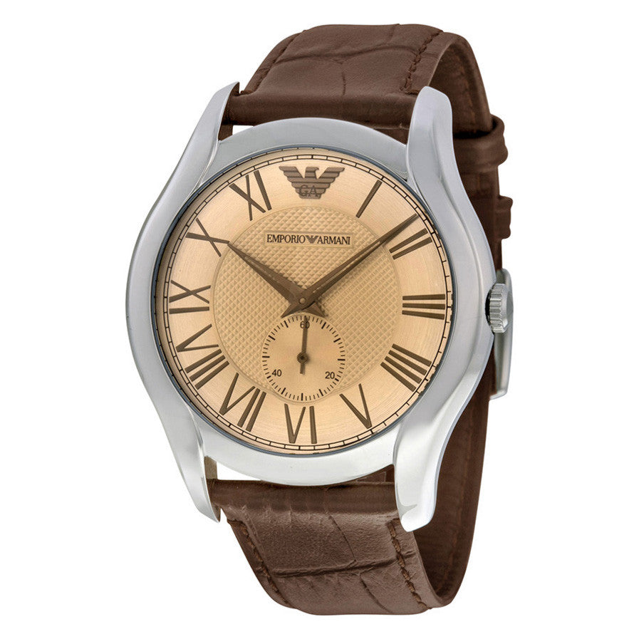 Classic Amber Dial Brown Leather Men's Watch