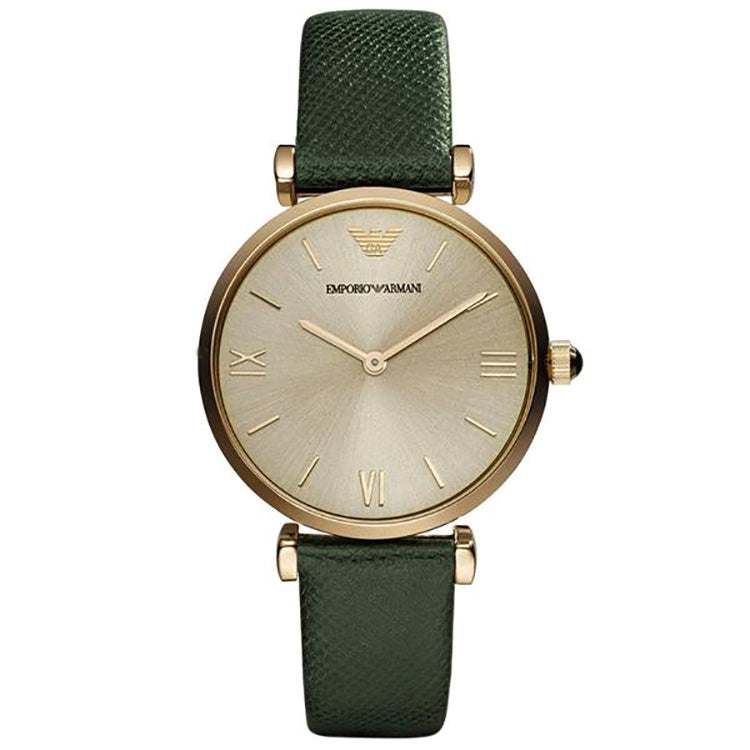 Retro Chronograph Gold Dial Green Leather Ladies' Watch
