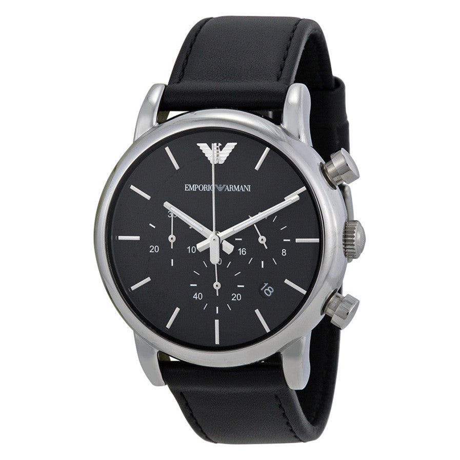 Black Dial Chronograph Leather Men's Watch