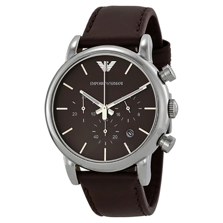 Emporio Chronograph Brown Dial Brown Leather Strap Men's Watch