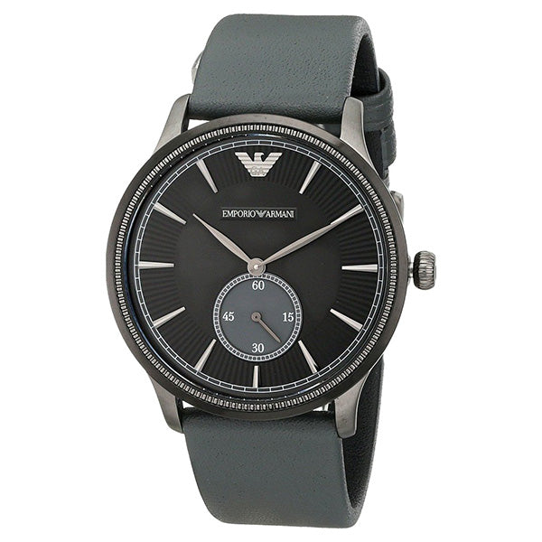 Classic Black Ion-Plated Case Black Leather Strap Men's Watch