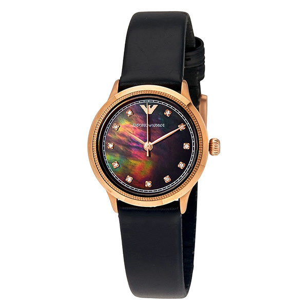 Classic Black Mother Of Pearl Dial Black Leather Ladies Watch