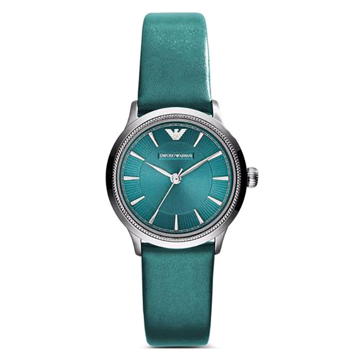 Classic Teal Dial Teal Leather Ladies Watch
