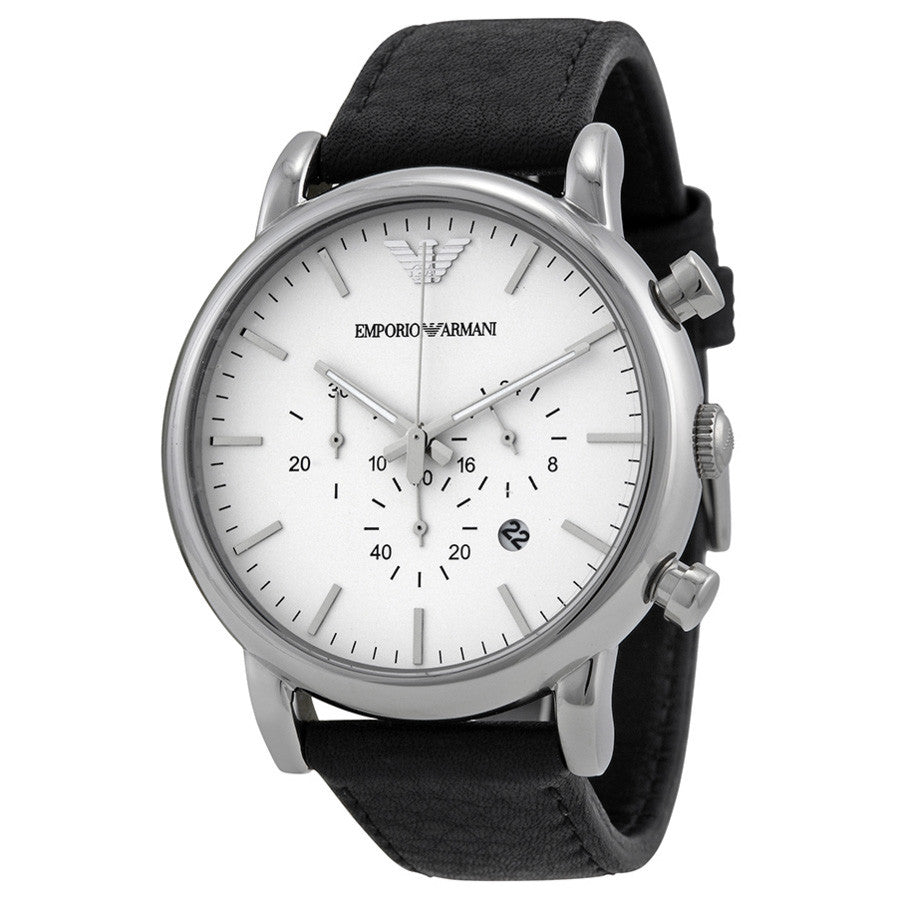 Chronograph White Dial Black Leather Men's Watch