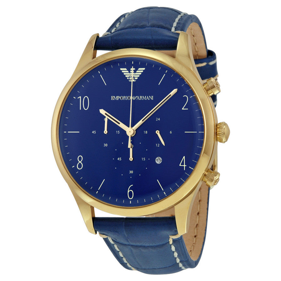 Chronograph Blue Dial Blue Leather Men's Watch