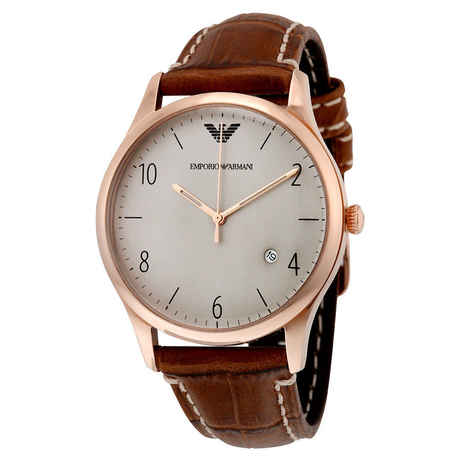 Grey Dial Leather Men's Watch