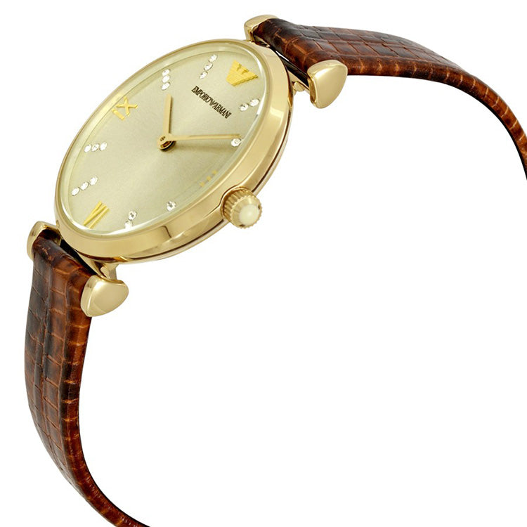 Classic Gold Dial Brown Lizard-embossed Leather