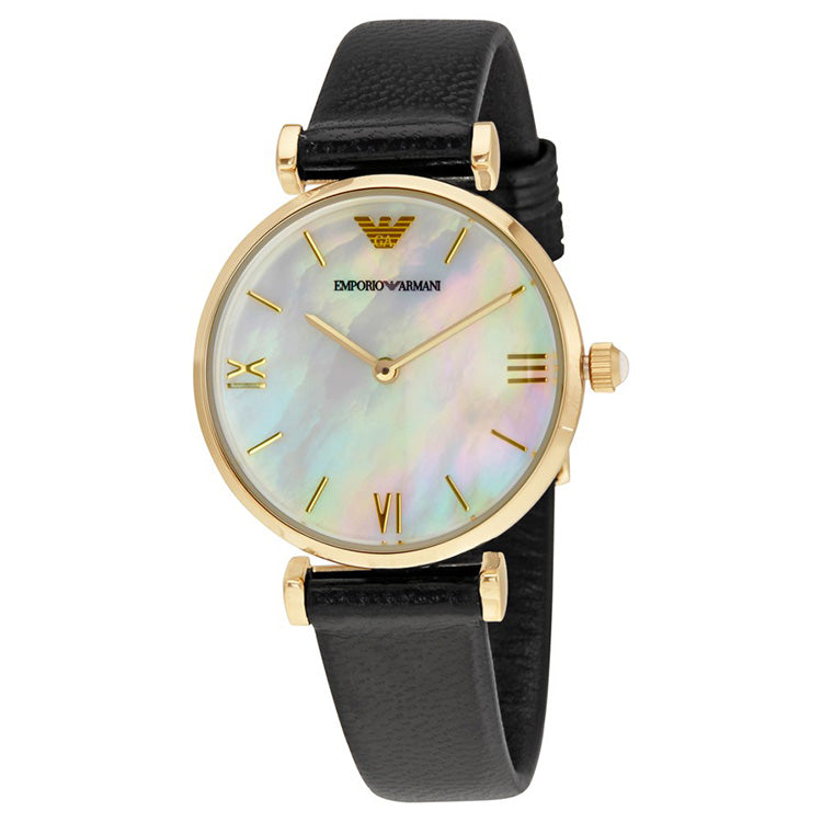 Classic Mother Of Pearl Dial Black Leather Quartz Ladies Watch