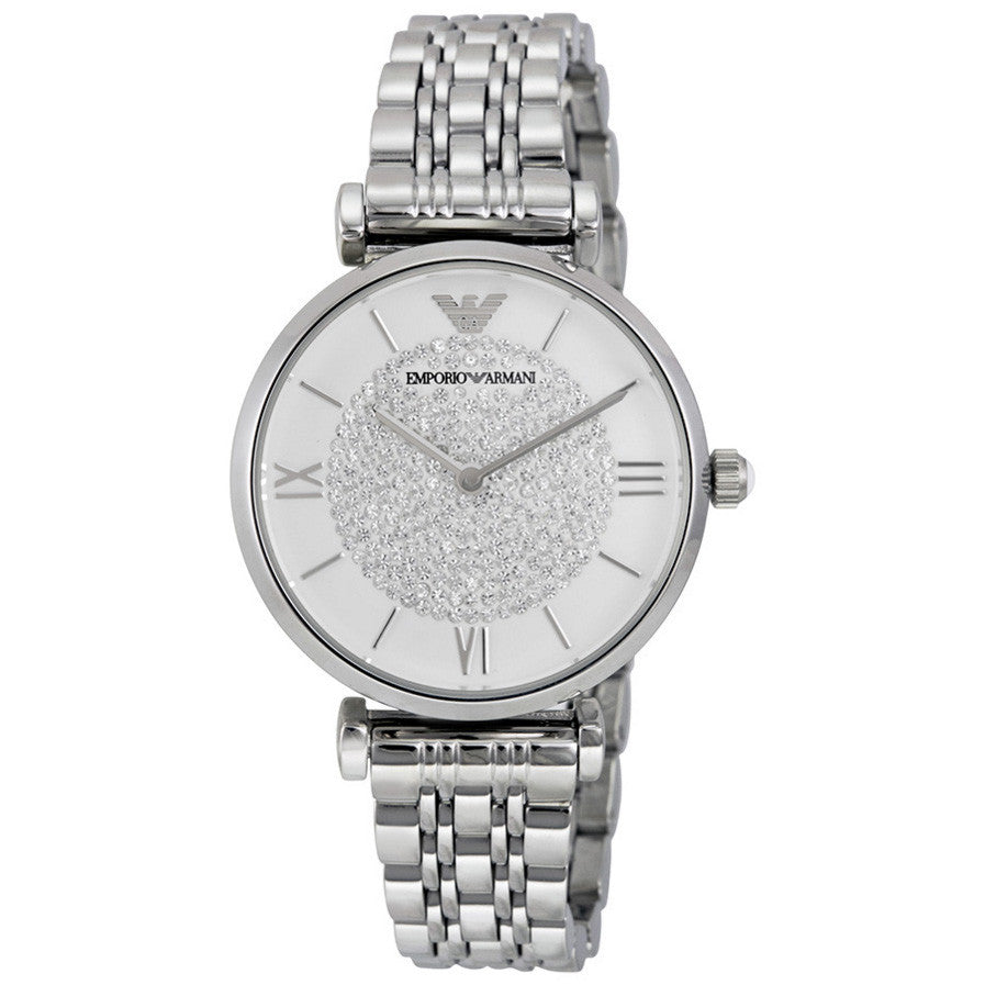 White Crystal Pave Dial Stainless Steel Ladies Watch