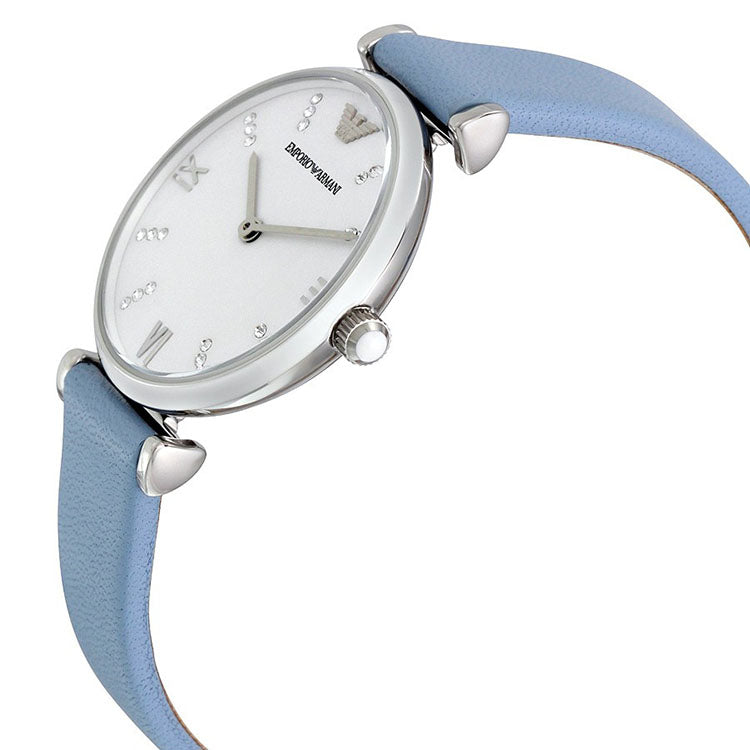 Armani Silvery White Dial Pale Blue Leather Ladies Watch