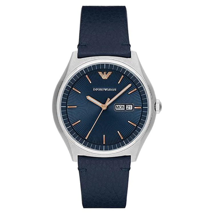 Matte Blue Dial Blue Leather Strap Men's Watch