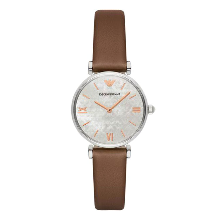 Retro Chronograph Silver Dial Brown Leather Ladies' Watch