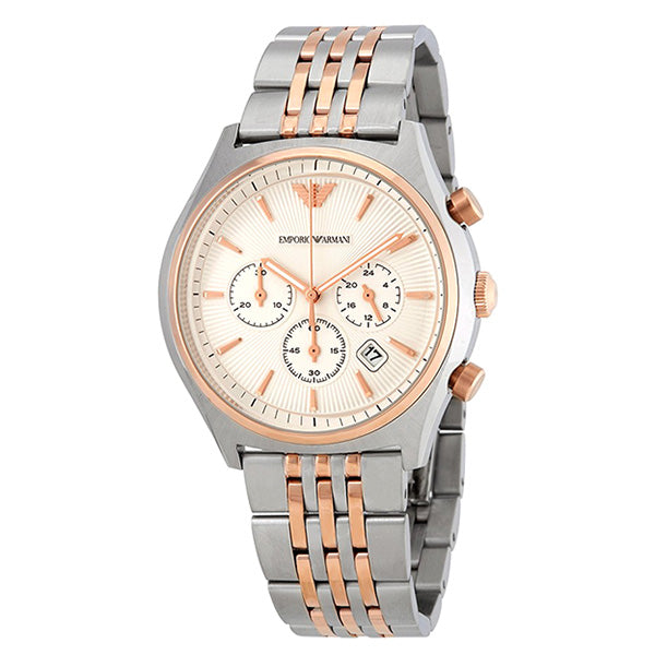Chronograph White Dial Two-tone Steel Bracelet Men's Watch