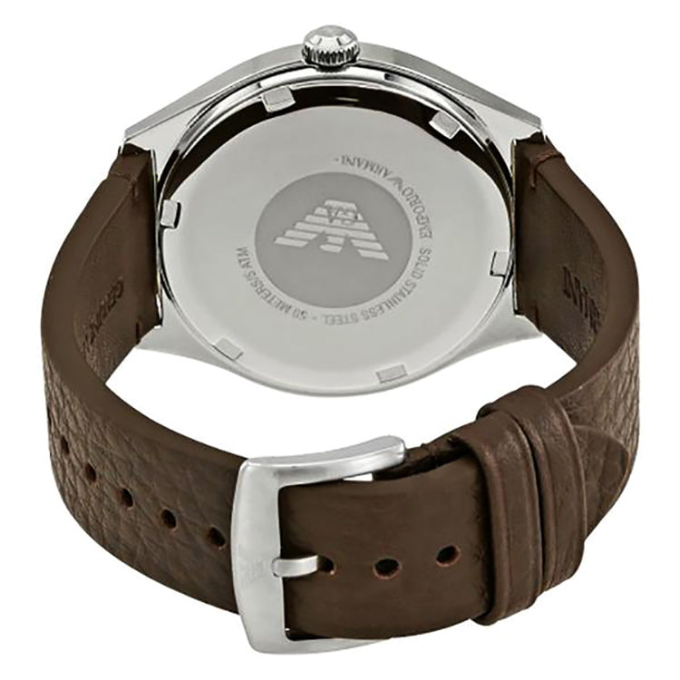 Zeta White Dial Dark Brown Leather Men's Watch