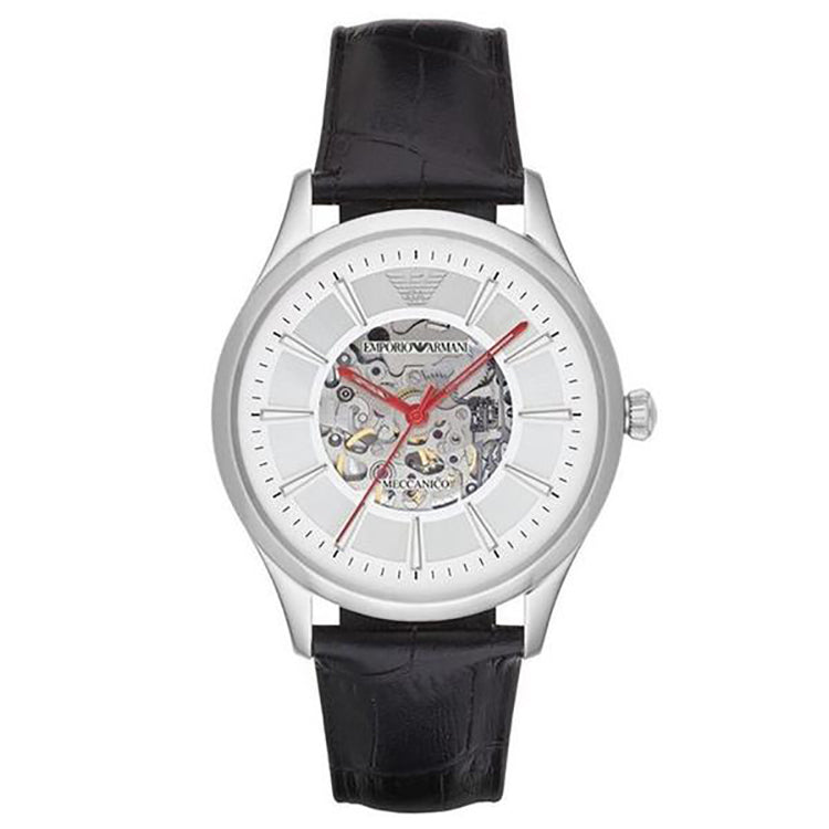 Meccanico Skeleton Dial Black Leather Men's Watch
