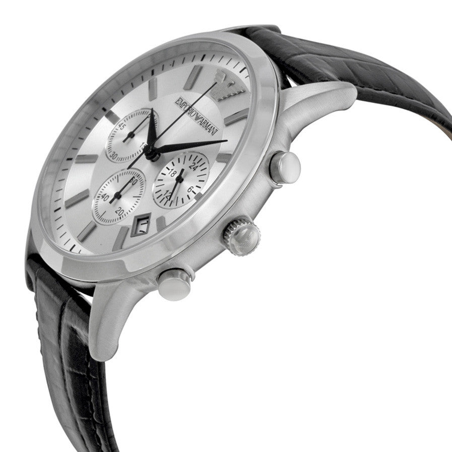 Classic Chronograph Silver Dial Black Leather Men's Watch