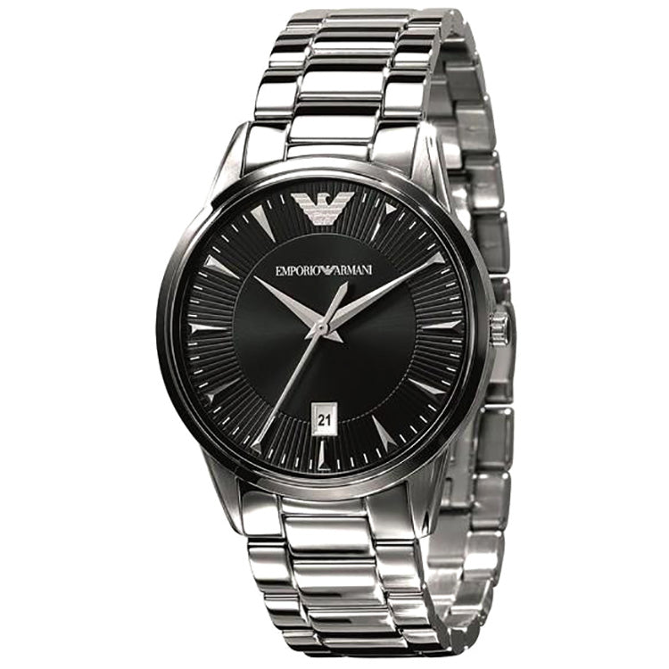 Classic Black Dial Stainless Steel Men's Watch