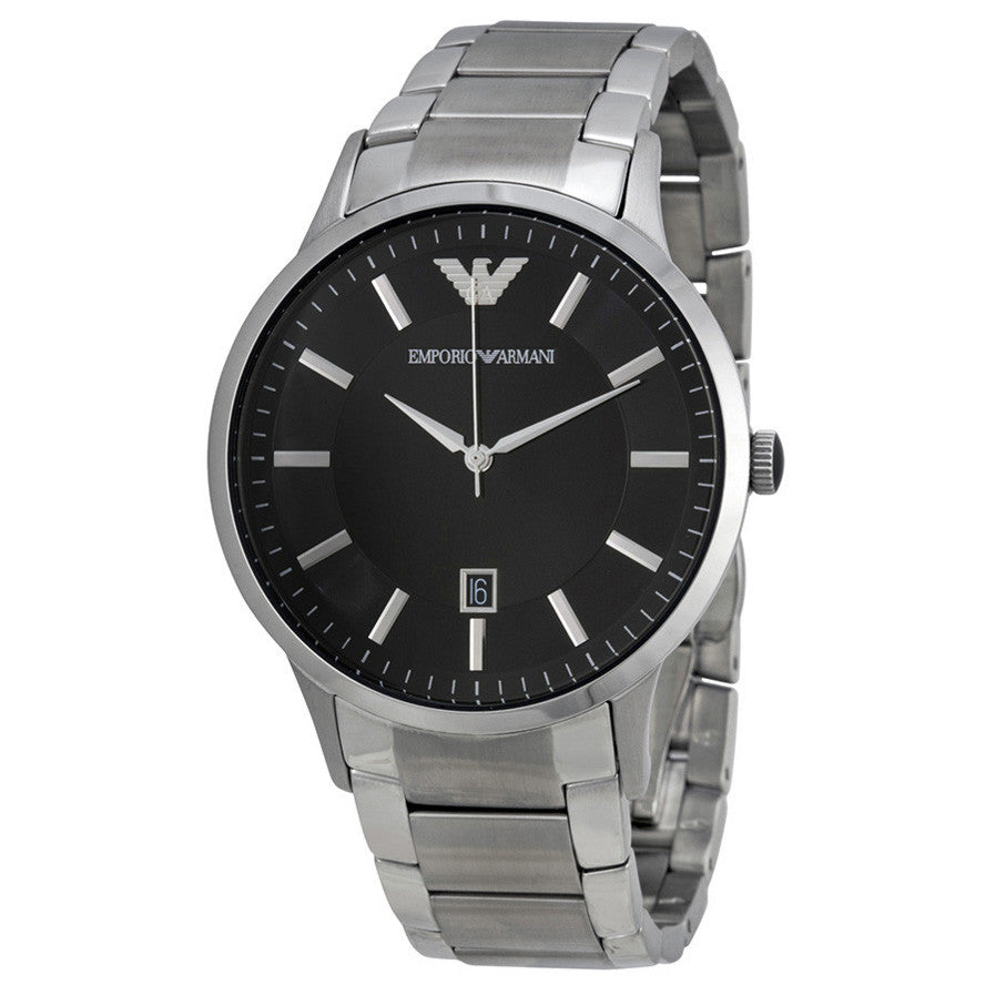 Emporio Sportivo Black Dial Stainless Steel Men's Watch