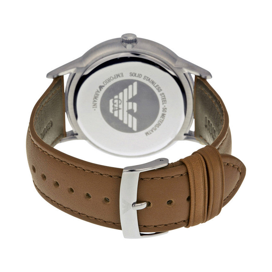 Emporio Classic Silver Dial Brown Leather Strap Men's Watch