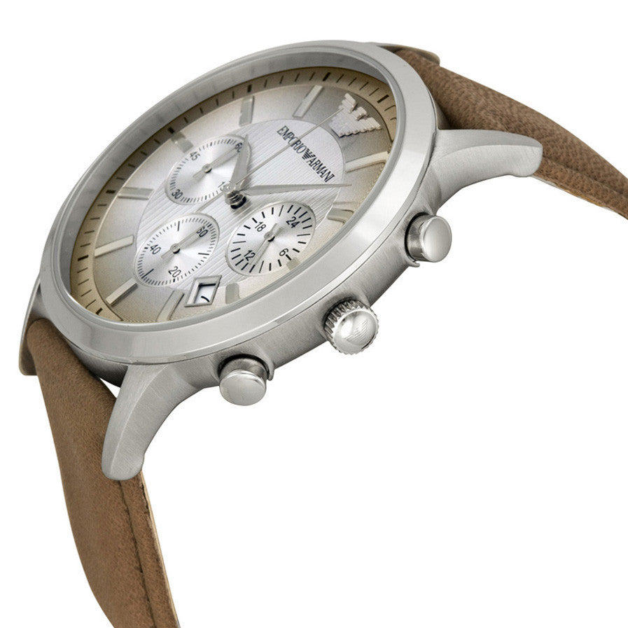 Classic Chronograph Textured Degrade Dial Taupe Leather Men's Watch