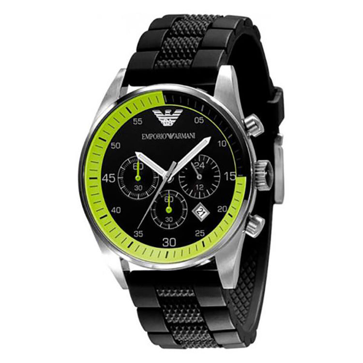 Chronograph Black With Green Dial Black Silicone Strap Men's Watch