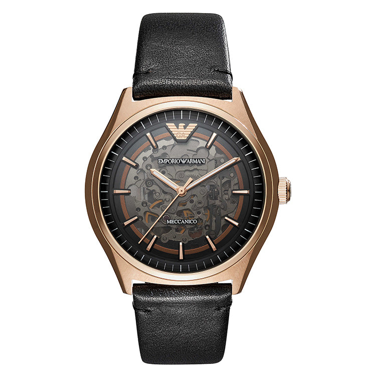 Meccanico Skeleton Dial Rose Gold Case Automatic Men's Watch