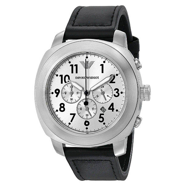 Chronograph Silver Dial Black Leather Men's Watch