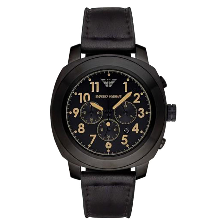 Sportivo Black Dial Black Leather Chronograph Men's Watch
