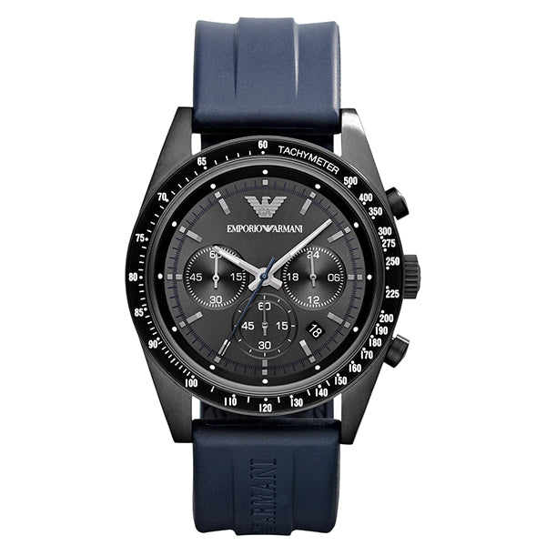 Sport Black Dial Blue Rubber Strap Men's Chronograph Watch