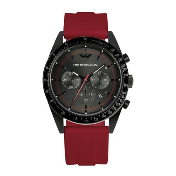 Sport Black Dial Red Rubber Strap Men's Chronograph Watch