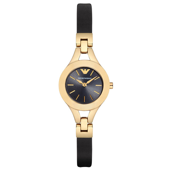 Gold Tone Black Dial With Black Leather Strap Ladies' Watch