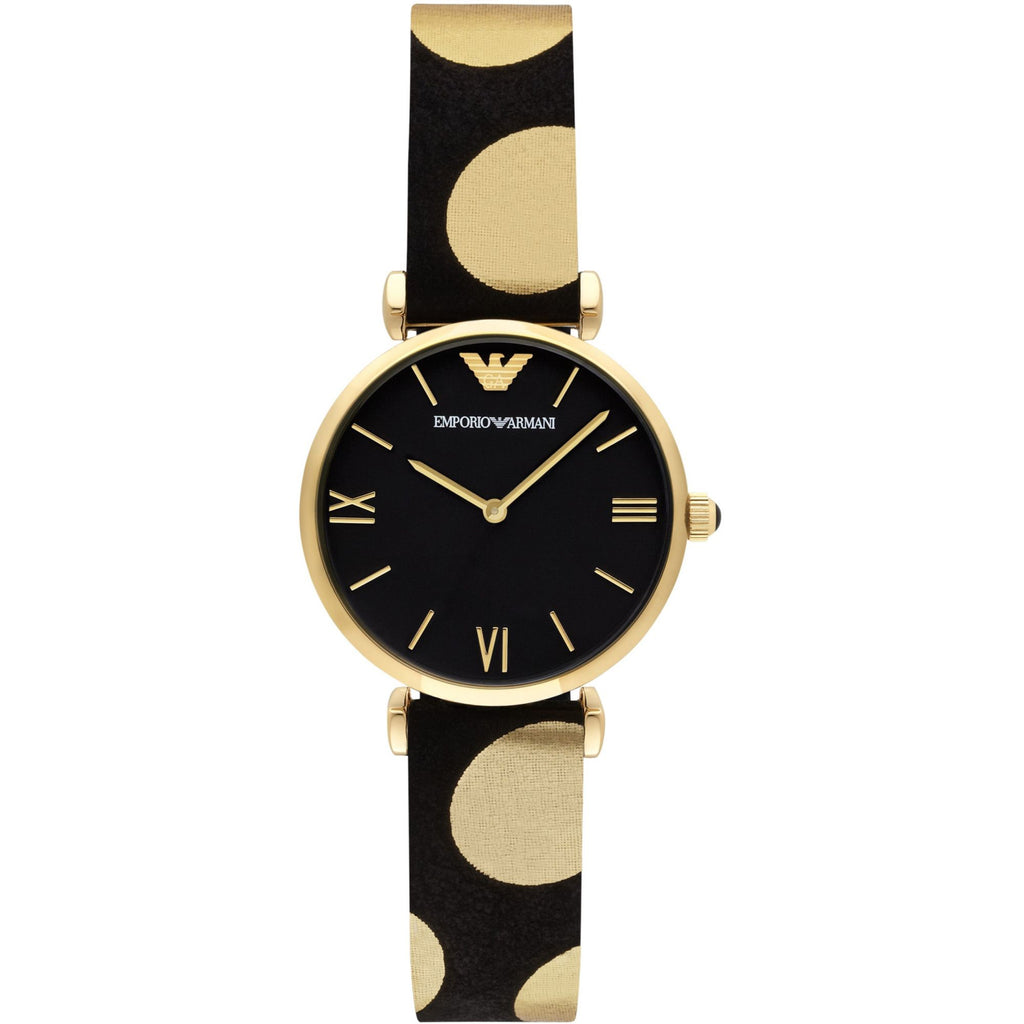 Classic Black Dial Black Leather Polka Dot Strap Ladies Watch