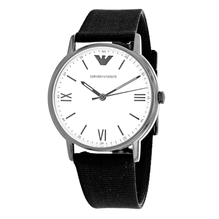 White Dial Black Nylon Strap Men's Watch