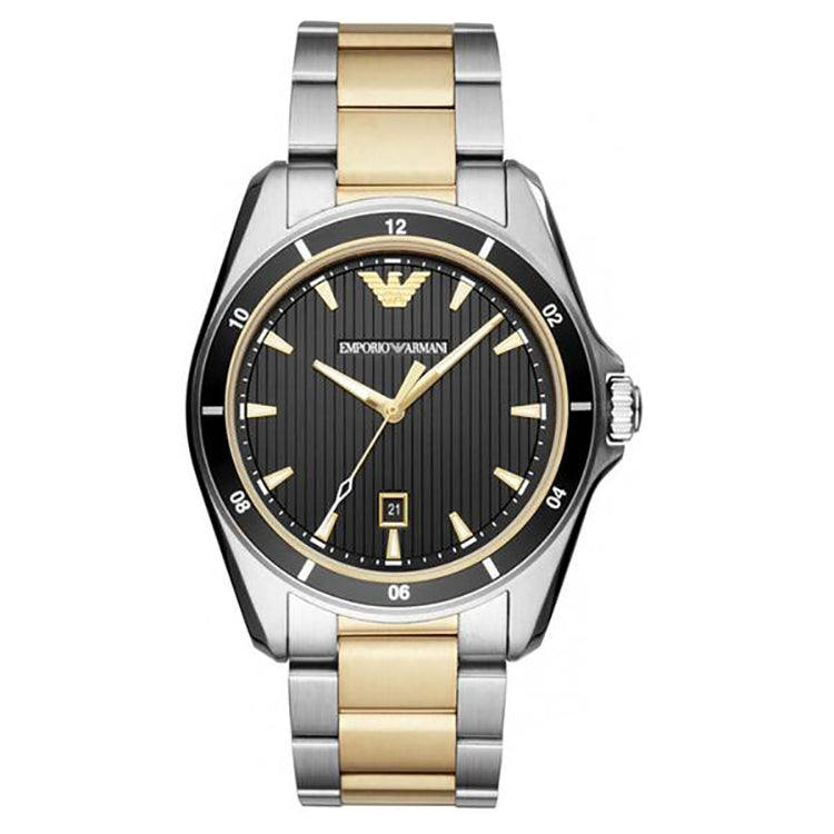 Black Dial Two Tone Stainless Steel Men's Watch
