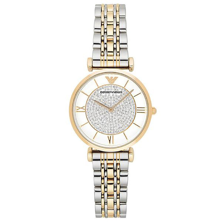 Dress Crystal Pave Dial Two-tone Ladies Watch