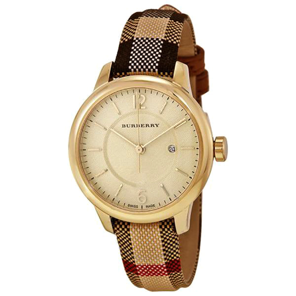 Honey Check Stamped Dial Honey Check Fabric-Coated Leather Ladies Watch