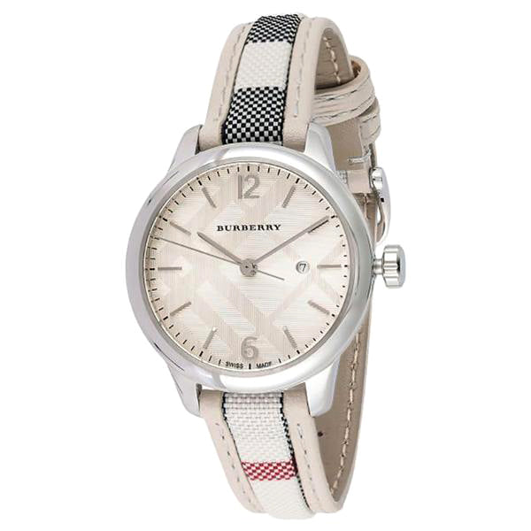 Silver-Tone Sunray Check Stamped Dial White Check Fabric-Coated Leather Ladies Watch