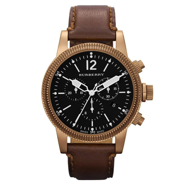 Utilitarian Chronograph Black Dial Brown Leather Strap Men's Watch