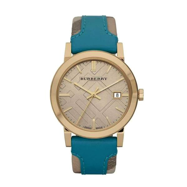 Heritage Nova Check Beige Dial Check Fabric And Turquoise Leather Ladies' Watch
