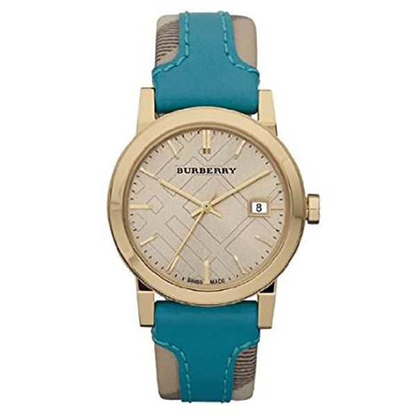 Heritage Nova Check Beige Dial Check Fabric And Blue Leather Ladies' Watch