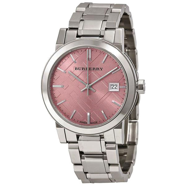 Pink Check Stamped Stainless Steel Ladies Watch